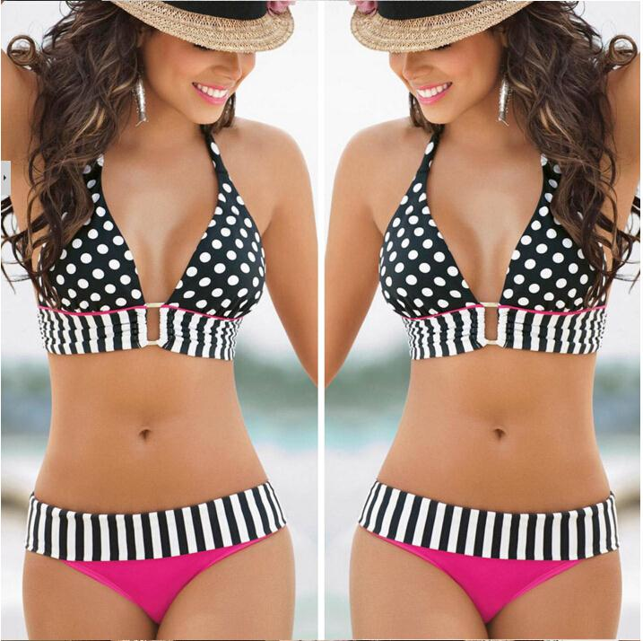 Good deal Retro Bikini Brazilian Women Swimwear High Waist Wave Stripe Bikinis Set Swim Suit Polka Dot Swimsuit Plus Size<br><br>Aliexpress