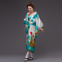 Sky Blue new Japanese Women's Silk Satin Kimono Yukata Evening Dress Haori Kimono With Obi Japanese Geisha kimono One Size(China)