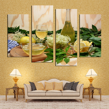 New Modular Pictures fruit Lemon juice green flowers canvas painting modern wall paintings for kitchen wall picture paint on can(China)
