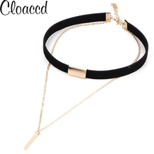 Cloaccd New Design Black Velvet Leather Choker Necklace Fashion Gold Color Long Chain Alloy Pendant for Women(China)