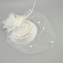 E JUE SHUNG Bridal Net Feather Hats White Red Black Birdcage Net Wedding Hats Bridal Fascinator Face Veils Pearls bride Hats