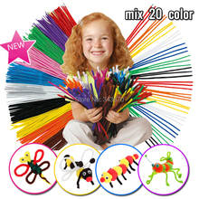 100pcs baby game kids Educational DIY chenille stem pipe cleaner materials  Plush Spin rods shilly-stick handmade Christmas toys