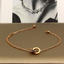Double circle crystal anklets for women, rose gold color roman numerals stainless steel anklet bracelet pulseras foot jewelry