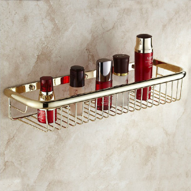 45CM Wall Mounted Golden Finish Strong Brass Made Square Single Tier Bathroom Shelf Bathroom Basket HJ-106K<br>