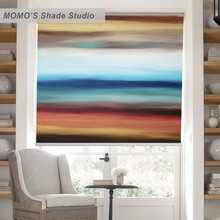 MOMO Painting Window Curtains Roller Shades Blinds Thermal Insulated Blackout Fabric Custom Size, PRB set147-149