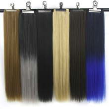 Soowee 120g High Temperature Fiber Synthetic Hair Black to Red Gray Hair Pad Clip In Hair Extension Cheveux
