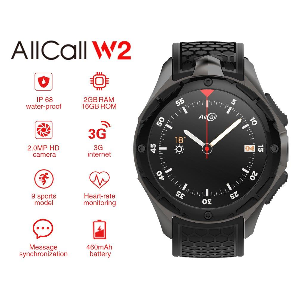 ALLCALL W2 Smartwatch Phone Android IP68 waterproof Smart watch MTK6580 Quad Core GPS Bluetooth clock with pedometer 307391 10