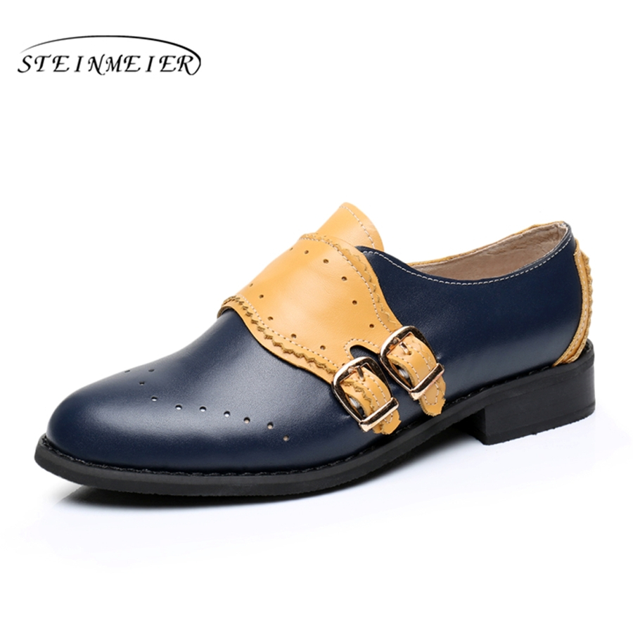 Genuine leather big woman US size 11 designer vintage flat shoes round toe handmade blue yellow 2017 oxford shoes for women fur<br>