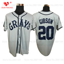 #20 Josh Gibson GRAYS Negro League Baseball Jersey Throwback Mens Gray New Material jerseys 100% stitched S-3XL Free shipping