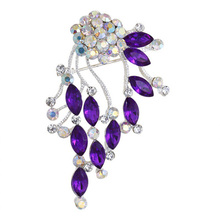 New Style Hot Sale Fashion Red Women Cheap High-Quality Rhinestone Brooch Pin,Purple Brooch For Ladies Dress,Free Shipping