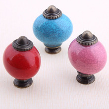 Rustico retro style bronze drawer shoe cabinet knobs pulls blue red pink oval ceramic kitchen cabinet dresser door handles knobs