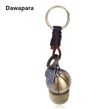 Dawapara Vintage Baseball Cap Keychains Genuine Leather Key Chain Ring Holder Bag Charm Pendant fathers day gift for men