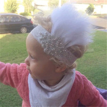 Vintage Rhinestone Feather Headband White Baby Headband Christening Baptism Headband Hair Accessories Vintage Inspired Flapper