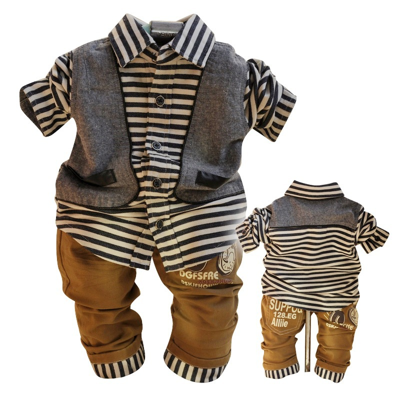 Anlencool 2017 free Shipping Spring Valley New England Infants Posture A Two-piece Shirt Suit Baby Boy Clothing Set<br>