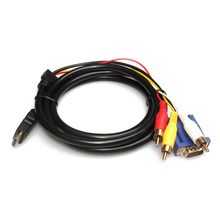 CES 1.8m/6ft Pure Copper HDMI to VGA 3 RCA Composite RGB Adapter Cable M/M