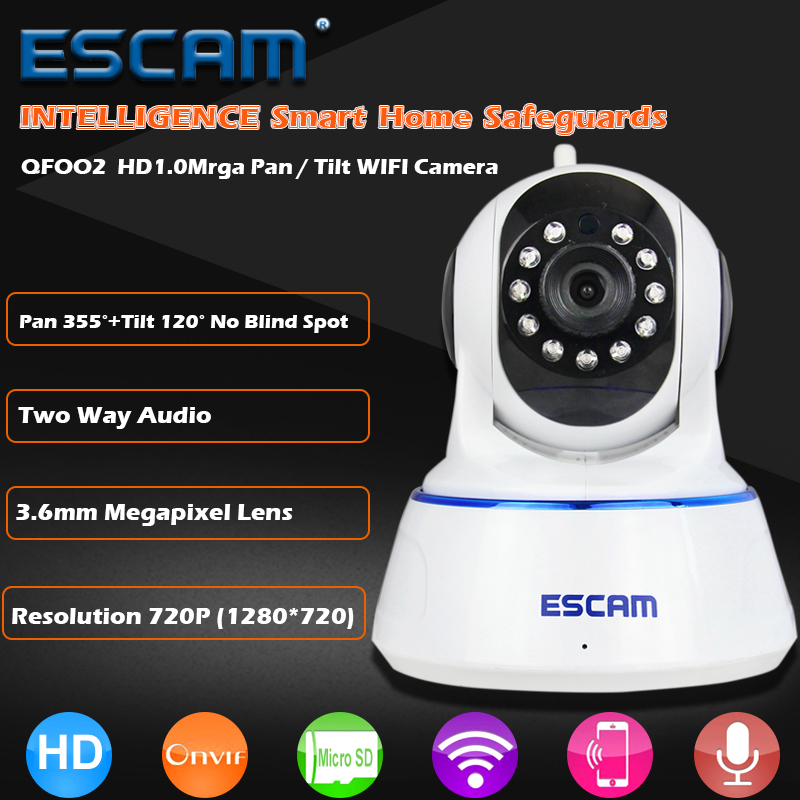 ESCAM QF002 HD 720P IP Camera Wireless Digital Baby Monitor Night Vision P2P WifIi Infrared Security Surveillance CCTV Dome Cam<br>