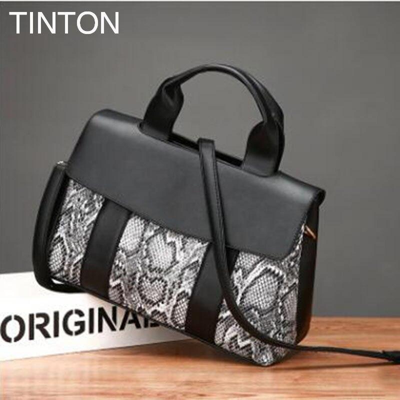 2018 new serpentine pu women leather handbag large capacity patchwork shoulder bag womens handbags European style crossbody bag<br>