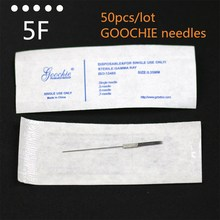 50pcs/lot Goochie Permanent Makeup Tattoo 5F Needle, Standard Tattoo Needle 5 flat Independent Package Free Shipping(China)