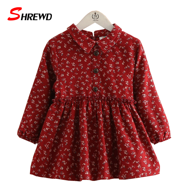 Dress For Kids Girls 2017 New Autumn Fashion Floral Prinitng Baby Girl Dress Long Sleeve Cute Casual Children Clothing 4151Z<br><br>Aliexpress