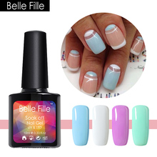 BELLE FILLE Powder Blue 10ML DIY Gel Polish French Nail Art Fringe DIY Art Design Powder Blue French Varnish Gel Nail Polish(China)