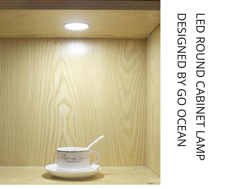 Under Cabinet Lights Puck Light 12V Round Aluminum Shelf Kitchen Closet Lamps LED Closet Lighting Night Showcase Counter Lamp (7)