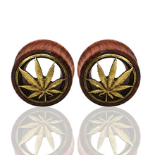 Carve Leaves Natural Wood Bubinga Hollow Ear Plug Tunnels Piercing Expanders Gauge Stretcher Saddle Body Jewelry