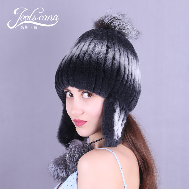 JOOLSCANA russian fur cap with fur pompom winter hat russia beanie cap women hat genuine rex rabbit fox pompom earmuff beanieÎäåæäà è àêñåññóàðû<br><br>