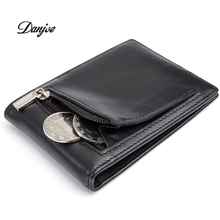 DANJUE 100% Genuine Cow Leather Men Money Clips Vintage Slim Design Credit Card Dollar Clip Purse Cowhide Small Coin Wallet Male(China)