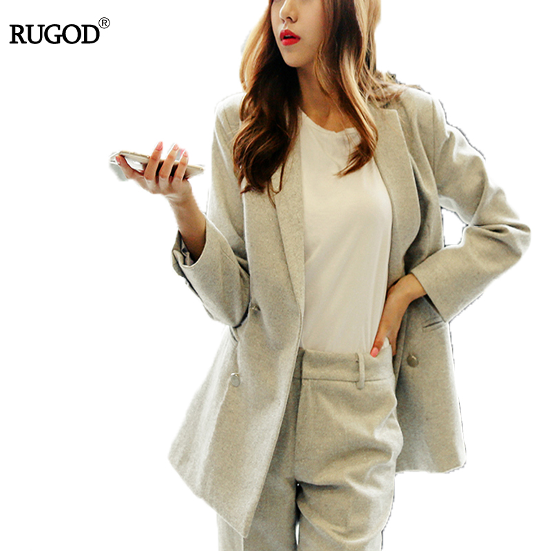 RUGOD 2019 Autumn Winter Chic 2 Piece Suit Striped All-purpose Blazer Jacket And High Waist Long Women Two Piece Sets