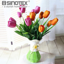 Artificial Flowers Tulips Bouquets Wedding Decoration DIY Party Fake Silk Floral Decor for Home Living(China)
