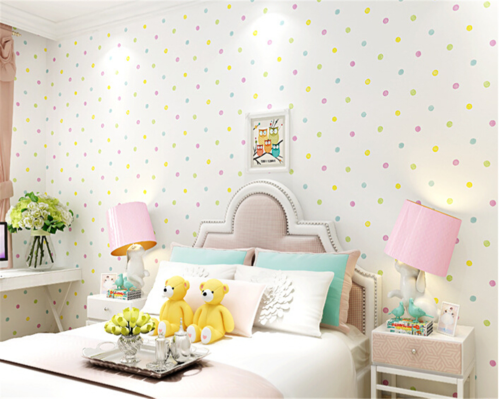 beibehang tapety Environmentally permeable nonwovens Kids Room Cartoon colored dots boys and girls bedroom background wallpaper<br>
