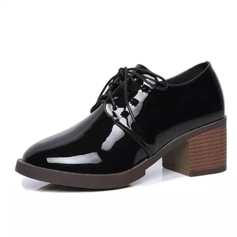Spring 2017 Platform Shoes Woman Oxfords Shoes Female Vintage Cut-Out Patent Leather High Heels Brogue Shoes Casual Pumps<br><br>Aliexpress