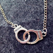 New Design Handcuffs Pendant Necklace for Men and Women Fashion Stuff Silver Tone Handcuffs Short Necklace Pendant(China)