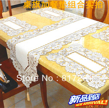 2014 new arrival fashion silk lace cutout embroidery  table cloth table runner cushion chair cover table mat for dinning table