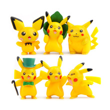 6pcs Pikachu characters action figure set 2016 New Japanese Anime Pikachu go pikachu DIY model toy  lot Magic gift Christmas