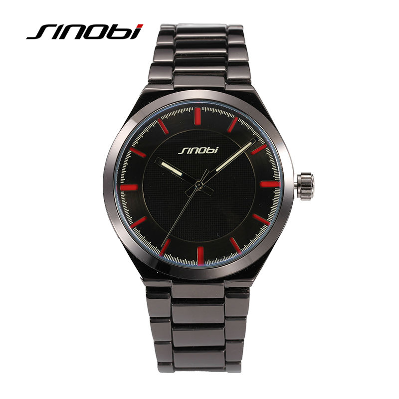 Luxury Brand SINOBI Mens Tungsten steel Quartz watches Black Stylish simplicity Waterproof watch Business Causal Wrist watches<br><br>Aliexpress