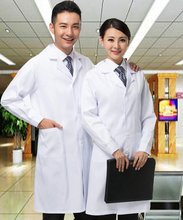 women or men white Medical Coat Clothing Medical Services Uniform Nurse Clothing Long-sleeve Polyester Protect lab coats Cloth(China)