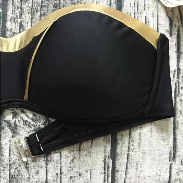 Hirigin 2018 New Bikinis Set Women Swimwear Push Up Paded Bikinis Bronzing Solid Swumsuit Strapless Women Beachwear Bathing Suit 5