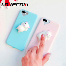 LOVECOM For iPhone 5 5S SE 6 6S 7 Plus Cover Candy Shell 3D Elastic Cute Squishy Toys Kneading Decompression Soft TPU Phone Case
