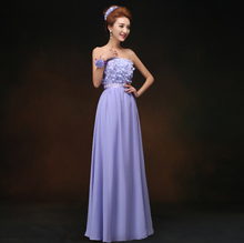 latest designs long dress women chiffon evening womens formal gowns ladies fashion lavender a-line strapless dresses H1879