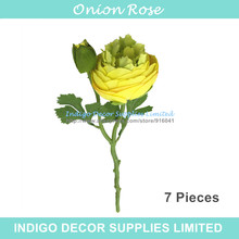 INDIGO- 7pcs Yellow Onion Rose Short Rose With Bud Table Decoration Artificial Flower Wedding Flower Party Event Free Shipping