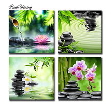 REALSHINING 3D Diamond Painting Bamboo Stone Crystal Square Rhinestone Picture Cross Stitch Kits diy Diamond Embroidery R106(China)