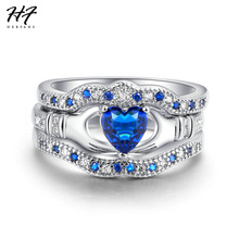 HERFANS Luxury Elegant Blue Heart Cut Cubic Zirconia Silver Color 3 Pieces Ring Sets Engagement Rings For Women Wholesale R615