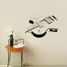 Electric Guitar Wall Sticker Art Vinyl Self Adhesive Musical Instrument Wall Decal For Living Room