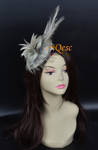 NEW Silver gray Fascinator/hair accessory/sinamay fascinator with long feather for wedding,party,Kentucky Derby.FREE SHIPPING.