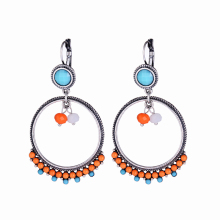 2016 Hot Design Earrings Bohemian Silver Color Colorful Indian Resin&Rhinestone Beads Big Round Circle Drop Earrings for Women