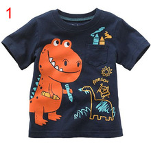 boys cartoon dinosaur fire truck crocodile tortoise snail striped T-shirt kids tee child top cotton coat children cloth wear1-6T