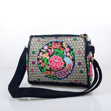 2017 new characteristic Chinese style embroidery peony women Shoulder bag Embroidered  peacock canvas Messenger bag