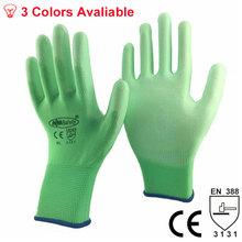 NMSafety New Arrive 13 Gauge Polyester Cotton Knit Coated PU Palm Safety Work Gloves Wholesale(China)