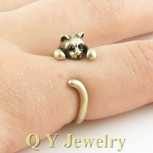 Fashion Vintage Silver Bronze Boho Chic Mid Finger Cat Ring Hippie Brass Knuckle Animal Wrap Couple Rings For Men Women(China)